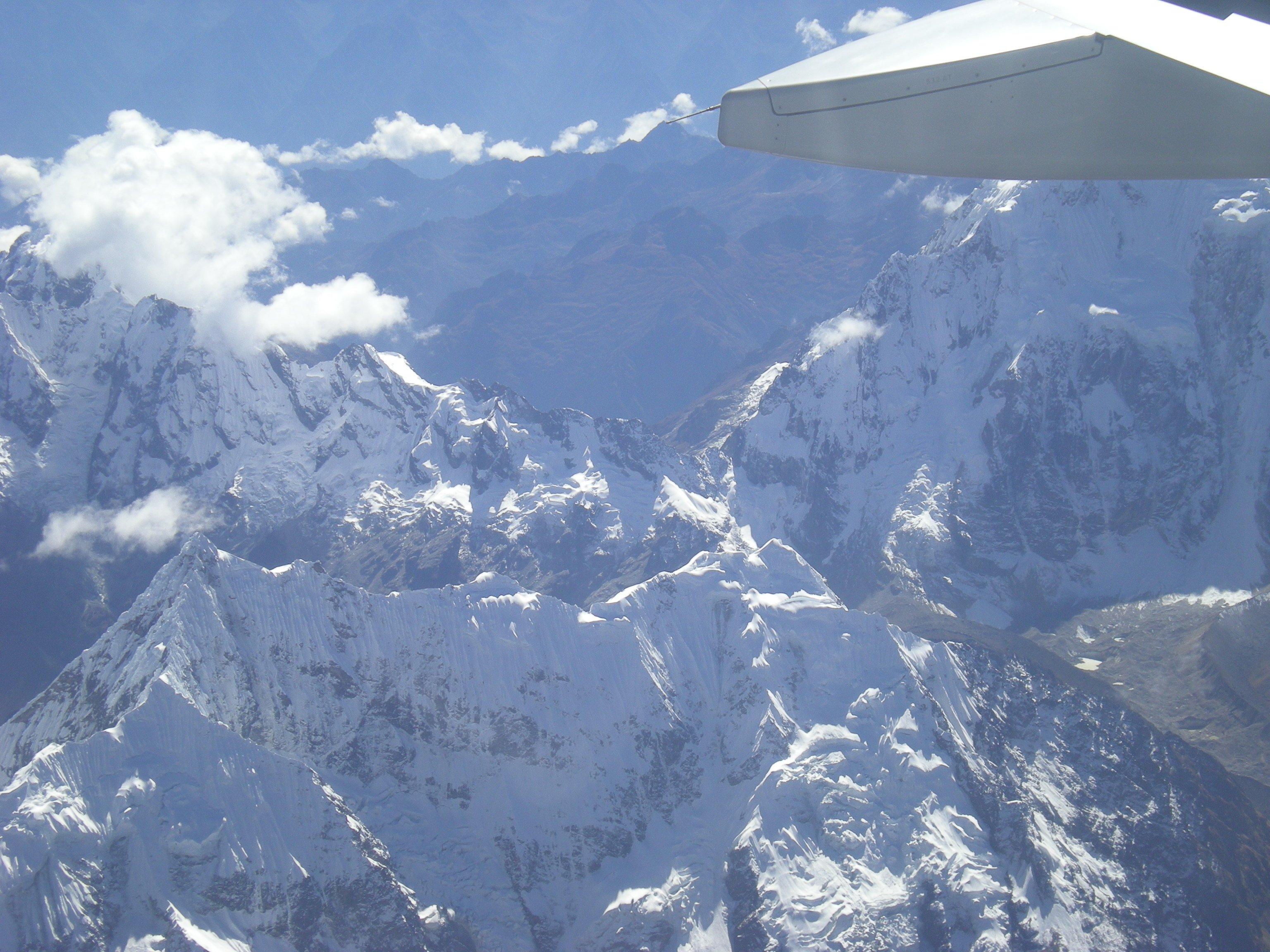 La cordillère des Andes vue d'avion